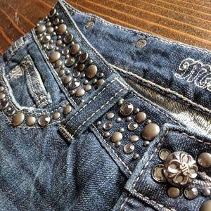 Miss Me | Rhinestone Embellished Boot Cut Jeans